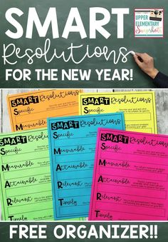 Check out this post at Upper Elementary Snapshots about encouraging students to write SMART resolutions for the New Year!! Also download a free organizer to help students write their New Year's Resolutions!