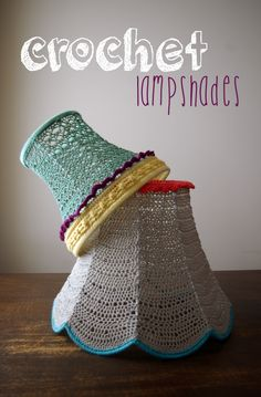 I am so excited to show everyone the new lampshades I made! I have found a new love/addiction… crochet lampshades! Crochet Home, Love Crochet, Knit Crochet, Crochet Lampshade, Crochet Patron, I Love Lamp, Crochet Decoration, Paintbox Yarn, Yarn Brands