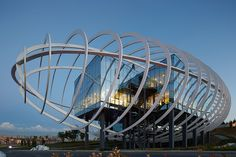 Yazgan design architecture encases tema Istanbul showroom with elliptical exterior