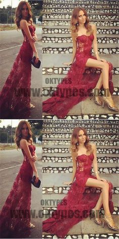 Red Long Mermaid Prom Dresses, Sweetheart Lace Prom Dresses, Front Split Prom Dresses, Zipper Prom Dresses, TYP0210 #promdresses