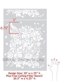 French Floral Damask Stencil | Royal Design Studio