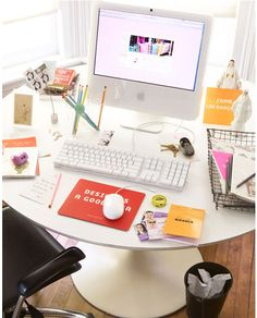 White + simple workspace w/ a dash of color!