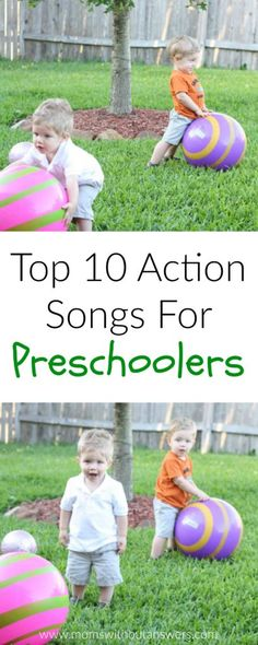 Sharing our Top 10 Action Songs For Preschoolers to keep your kids moving and learning and active. Preschool Action Songs, Kindergarten Songs, Preschool Music, Preschool Learning Activities, Music Activities, Toddler Preschool, Preschool Activities, Teaching Kids, Action Songs For Toddlers