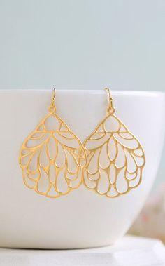 Large Matte Gold Filigree Earrings. Boho Chic Moroccan Bohemian Filigree Dangle…
