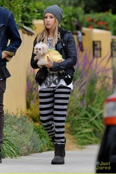 Ashley Tisdale wearing Ugg Australia Classic Short Boots in Black and Free People Beach Jailbird Sweatpants