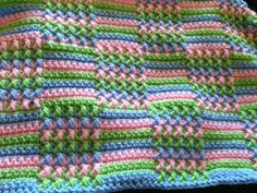 "Textured ""Blocks"" ~ This blanket is worked in rows of SC, with the textured blocks done with FPDC. Pattern on Reddit crochet group discussion :: http://www.reddit.com/r/crochet/comments/1f10he/wip_my_favorite_crochet_afghan_pattern/ #crochet #afghan #throw"