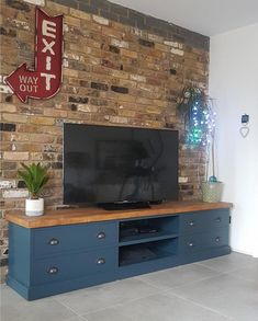 Long Tv Stand, Blue Tv Stand, Large Tv Stands, Tv Stands Uk, Raw Furniture, Furniture Makeover, Armoire Tv, Pavilion Grey, Tv Rack
