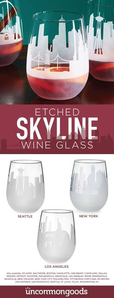 Etched skyline wine glasses.  Unique and memorable gift.
