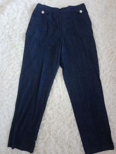 New Ladies Ex M/&S  Linen Trousers Casual High Waisted Summer Pants Straight Leg