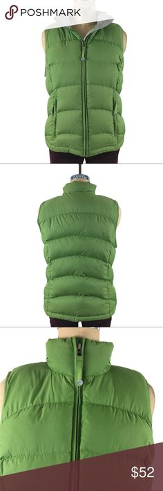 L.L Bean green down filled puffer vest medium Lofty and luxurious down filled puffer vest by L.L Bean in excellent condition. Nylon exterior and grey polyester lining. L.L. Bean Jackets & Coats Vests