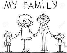 Familia Feliz La Mano Y Sonriendo Ilustraciones Vectoriales, Clip Art Vectorizado Libre De Derechos. Pic 11331211.