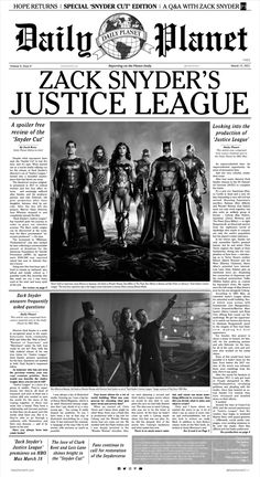 "A special ""Snyder Cut"" issue of the Daily Planet"