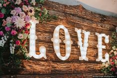 Wooden board with lighted love sign, rustic wedding inspiration Wedding Signage, Wedding Venues, Wedding Photos, Oklahoma Wedding, Rustic Wedding Inspiration, Signature Cocktail, Wedding In The Woods, Love Signs, Spring Wedding