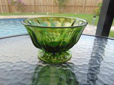 Green Glass Bowl Candy Dish Nut Dish