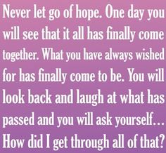 Positive Inspirational Quotes: Never let go of hope...