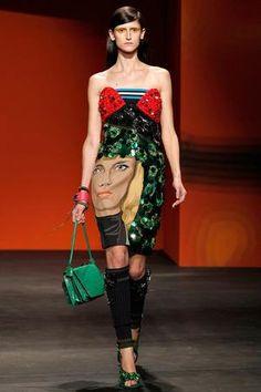 Alessandra Ambrosio wearing Prada Spring 2014 Embellished Silk Strapless Face Dress.