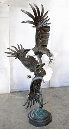 """""""Territorial Battle"""" Bronze Eagle Sculpture. These powerful eagles are sure to make a statement at your home or property. Call us today at (877) 528-2531 to discuss your specific needs."""