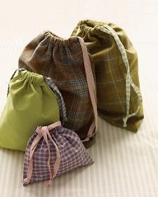 Directions for sewing drawstring pouches: Whether you're packing a suitcase or storing items at home, these drawstring pouches are handy to have around. Made in a range of sizes, they are perfect for stowing jewelry, shoes, and even laundry.