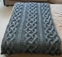 Ravelry: Big Chunky Cable Knit Blanket pattern by Theresa Boyce. I will make this!