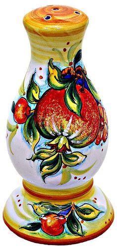Ceramic Salt Shaker - Melograno style - 16cm high x 7cm diameter. Mates with pepper grinder