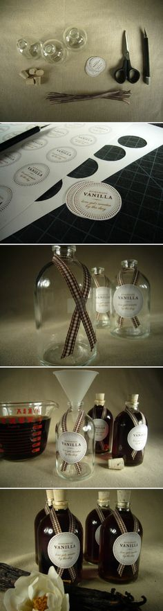 Homemade Vanilla extract to give as a gift. Good idea for gift baskets to my friends who love to bake.