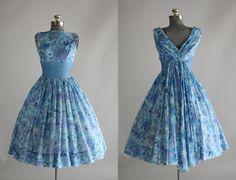 Vintage 1950s Dress / 50s Garden Party / Carol Craig Blue and Purple Floral Party Dress w/ Cummerbund S