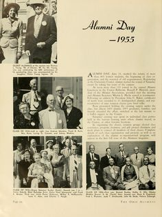 """The Ohio Alumnus, June 1955. """"Alumni Day, June 11, marked the return of more than 400 former students, the beginning of class organization, and the renewal of old acquaintances."""" :: Ohio University Archives"""