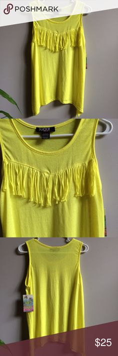 NWT Bright Yellow Fringe Tank Brand new with tags. Longer on sides. Somewhat see-through. Juniors size large. Retail $29.99. Tops Tank Tops