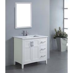 U0027Salemu0027 36 Inch White Marble Top Single Sink Bathroom Vanity | Overstock.