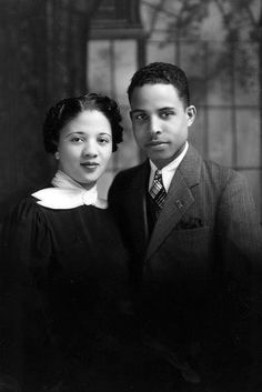 """From Facebook - """"Vintage African American Photographs"""" page 1/2015 """"Possibly an engagement photo ... this cute couple pose for their portrait at a photography studio in Lawrence, Kansas. Names unknown."""""""
