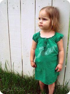 DIY toddler dress from a tee shirt