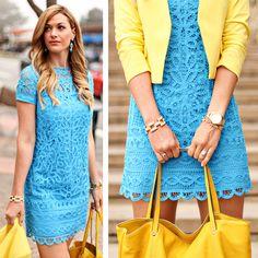 Vestido Turquesa + Blazer Amarelo