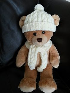 "Build-A-Bear in a knit scarf and cap.  The perfect start to a winter-themed costume or outfit.  Does it remind anyone else of Cameron Diaz in ""The Holiday""?"