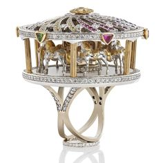 Trendy Diamond Rings : One of only 3 stunning merry go-round jewels. It actually moves! - Buy Me Diamond Jewelry Art, Gold Jewelry, Jewelry Rings, Vintage Jewelry, Jewelry Accessories, Women Jewelry, Ladies Jewelry, Quartz Jewelry, Ruby Jewelry