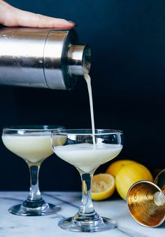 this cocktail is The Bees Knees! this sweet refreshing drink recipe consists of homemade honey syrup lemon juice gin and egg whites. Decor Style Home Decor Style Decor Tips Maintenance White Cocktails, Cocktail Drinks, Cocktail Recipes, Sweet Cocktails, Drink Recipes, Beach Cocktails, Cocktail Ideas, Classic Cocktails, Party Recipes