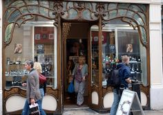 Lateish Art Nouveau shopfront, of about 1920, in Market Street, Cambridge, originally for Stetchworth Dairies