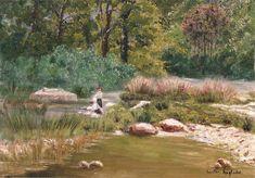 Gaston Vincent Anglade, Washerwomen on the riverbank