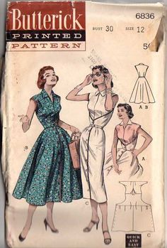 Butterick 6836 Women's Quick & Easy Wrap Around Dress Sewing Pattern Bust 32 by Denisecraft on Etsy Vestidos Vintage, Vintage Dresses 50s, Vintage Dress Patterns, Dress Sewing Patterns, Clothing Patterns, Vintage Outfits, Vintage Fashion, 1950s Fashion, Fashion Fashion