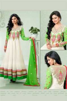 Mouni Roy White, Lime Georgette Long Salwar Suit