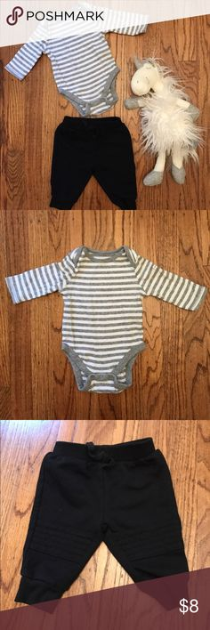 Long Sleeve Onesie and Baby Joggers Long sleeve grey and white striped onesie from Baby GAP and a pair of black sweatpants from Cat & Jack. Both are size 0-3 months. EUC. GAP Bottoms Sweatpants & Joggers