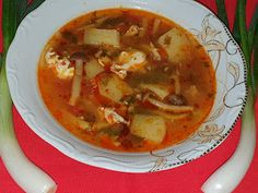 Lulu - Povesti din Bucatarie: Bors cu legume si ciuperci Thai Red Curry, Ethnic Recipes, Food, Essen, Meals, Yemek, Eten