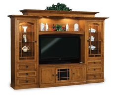 Amish Manhattan Mission Classic Entertainment Center Many shelves, drawers and cabinets make the Manhattan the one to have! Stunning and handcrafted in America. #entertainmentcenter #wallunit #livingroom
