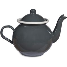 Garden Trading Enamel Teapot - Charcoal ($35) ❤ liked on Polyvore featuring home, kitchen & dining, teapots, grey, garden trading and enamel teapot