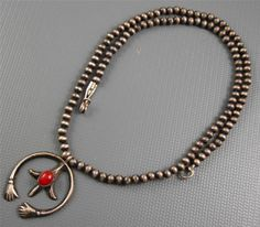 Vintage Navajo A.Cadman Sterling Coral Friendship Pendant Necklace Sweet