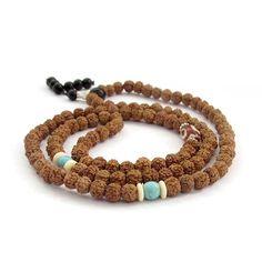Ovalbuy 6mm Rudraksha Bodhi Beads Rosary Prayer Meditation 108 Japa Mala Buddhist >>> Visit the image link for more details. #Bracelets