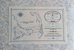 Nautical Wedding Save the Dates on Cotton Canvas | Oh So Beautiful Paper