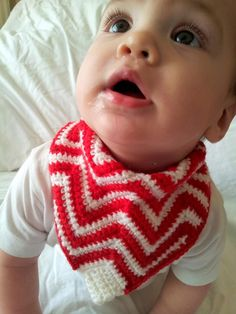 A FREE, easy pattern for making a crochet chevron bandana bib that doubles as a pacifier clip and a comforter...you'll just have to take a look...