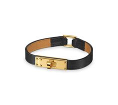 Micro Kelly Bracelet cuir en veau Chamonix, fermoir plaqué or (tour de poignet : 17 cm)
