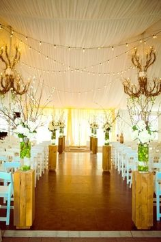 Indoor Ceremony Decor Wedding Ceremony Photos on WeddingWire. Love the draped fabric on the ceiling with the strung lights