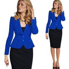 Vfemage Womens Autumn Winter Long Sleeve Turn Down Collar Button Wear to Work Blazer 1359